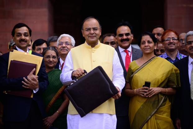 Mr. Jaitley with the all important briefcase, and the rest of the cabinet. (Picture courtesy - LiveMint)
