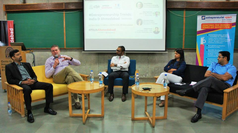 #PitchAhmedabad - Panel in Progress with Vijay Raghavan (Viridian ESpark), Dave Richards (Unitus Seed Fund), Mohsin Bin Latheef (CIIE), Priyanka Chopra (CIIE) and Chetan Parikh (ezDI)